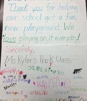 Ms. Kyler's PreK thanks Austin Parks & Rec for the new playground!