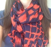 Union square scarf- navy and red
