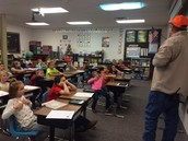 Trucker Buddy Rod Johnson visits Mrs. Mischell's Class