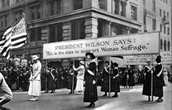 Susan B. Anthony marching in support of women's suffrage