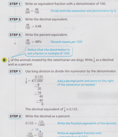 Fractions as Decimals and Percents Example