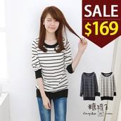 糖罐子原價220 特價169圓領束口條紋棉衫→預購