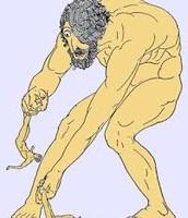 Polyphemus about to eat two of Odysseus's men.