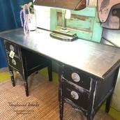 Black Metal Topped Industrial Vintage Desk