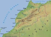 Physical map of Atlas Mountains
