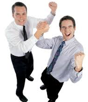 these two guys seem happy or excited