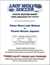 Lady Wolves Youth Soccer Night