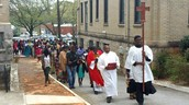 Procession into church