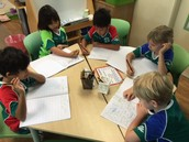 Prep 2RDa are writing sentences using adjectives