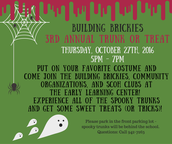 Building Brickies Trunk or Treat - Oct. 27th