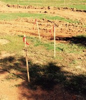 Stakes mark areas for Grading!