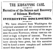 The kidnapped report of Solomon Northup