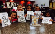 In library, students created artwork to go along with a story they read in class!