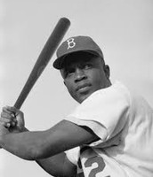 Jackie is up to bat while playing with the Dodgers.