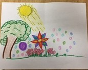Student work of a drawing of a picture to tell a story orally