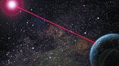 il·lustració de com es veuria el làser disparat cap a l'espai
