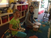 Bongos and tambourine for our 60's poetry cafe