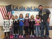 January classroom winners for students who demonstrated cooperación