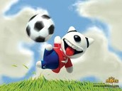 A funny man playing soccer