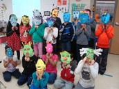 Second grade show off their masks.