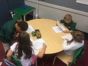 Writing partners giving feedback on each others work.