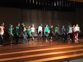 Dunn teaching Irish Dancing