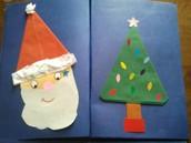 Santa face and Christmas tree