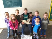 Kindergarteners read Three Billy Goats Gruff and then were visited by a new baby goat.