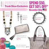 Trunk Show Exclusives: Spend $50 and get these fab items at 50% off!