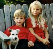 Taylor (age 9) and Austin (age 6) with their dog.