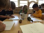sketching on styrofoam
