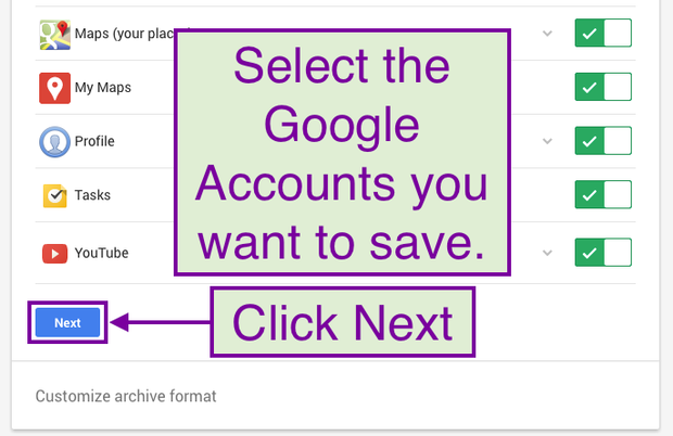 Select the Google Accounts you want to save