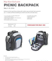 May Hostess Special- Picnic Backpack
