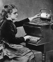 Woman using typewriters