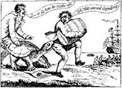 The embargo act, 1807, president jefferson, ograbme, political cartoon