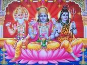 The 3 main gods: Brahma, Shiva, & Vishnu