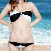 New Style métal chaîne-lien Halter Top & Bas Bikini légèrement rembourré, deux couleurs
