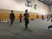 The students love the bowling unit in PE!