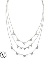 Pave chevron necklace-silver