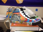 A real pair of shoes designed by a student in Durkin's class.