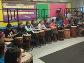 Students participated with two different kinds of drums.