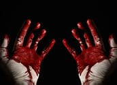 Macbeth's guilty hands stained with blood