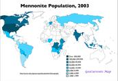 Mennonites Population map in 2003
