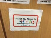 Clark's name in Braille