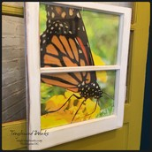 Upcycled Window Frame Wall Art with Monarch Butterfly: $100