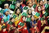 Crowd of people with Pakistan flags