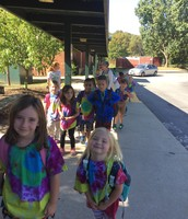 Our first walking trip!  We love our tie-dyed field trip t-shirts!