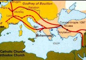 First Crusade route map