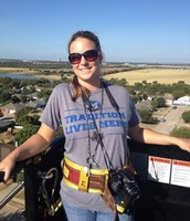 Our fearless science teacher went to great heights for us today!