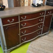 Mahogany and Chalk-Type Painted Credenza Buffet